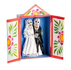 Skeleton Wedding Matchbox Retablo