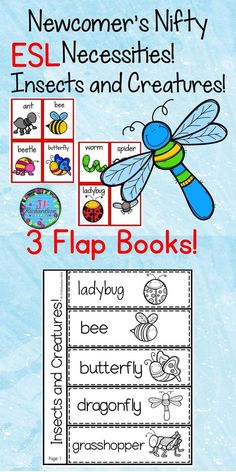 This packet is to help our new ELL's increase their vocabulary. It would also be great for kindergarten and first grade students. It is an insects and creatures set of vocabulary words that can be used in many ways.  TAKE A PREVIEW PEEK! Memory, Find My Match, Pocket Chart, Anchor Chart  Included: 16 insects and creatures word wall words 16 words only and 16 pictures only (color and black and white) 3 flap books which includes frame ( I see a ____ in the garden.) (1 blank to write their own…