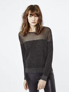 Ottoman stitch pullover with lurex - Sweaters - Maje.com