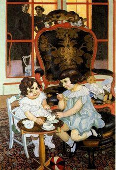 Maurice Denis (Francia, 1870-1943). Portrait des enfants Kapferer ou Le goûter, 1919