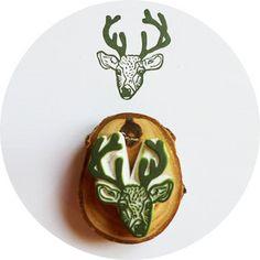Dear Deer, Hand Carved Rubber Stamp, $20