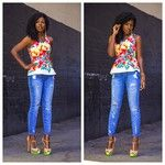 Style Pantry | Floral Peplum Blouse + Distressed Jeans