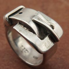 SIZE 6 Signed CIJ Heavy  Mexico Sterling Silver 925 Bold Belt Buckle Ring 9.7g #CJI #Buckle