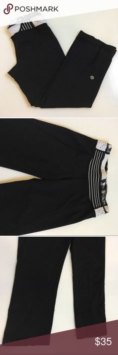 { Lululemon } crop pant Lululemon crops with patterned waistband, slots in leg backs for the father and crow crops style, easy movement. These have been previously worn and have normal wash and wear but are in good condition. Love these pattern! lululemon athletica Pants