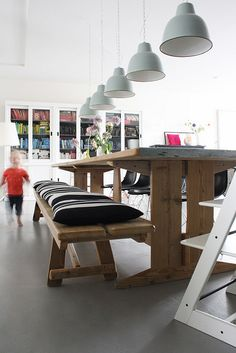 Funky Netherlands Home TourLove the dining bench plus pillows, maybe paint the stokke white? Scandinavian Style, Scandinavian Interior, Corner Bench Dining Table, Dining Room, Room Kitchen, Wood Table, Dining Set, Home And Living, Home And Family