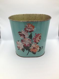 Vintage Turqoise Blue Hand Painted Rose Metal Wastebasket