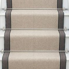 Other couloirs available. Jenna, these are the stair runner rods I mentioned. You could get ghee in antique gold or brass or oil rubbed bronze depending on the hardware finish in your foyer. - Model Home Interior Design Stair Runner Rods, Staircase Runner, Stair Rods, Stair Runners, Hallway Runner, Stair Railing, Hall Carpet, Carpet Stairs, Rugs On Carpet