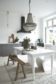my scandinavian home: subtle texture in the grey and white kitchen of Swedish interior stylist Denice Lindell.