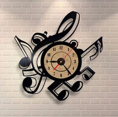 Music Notes Vinyl Record Clock