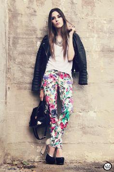 FashionCoolture 18/12/2012 floral pants Damyller leather jacket Boda Skins Asos heels black outfit (1)