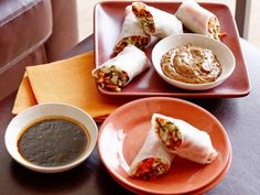 Get Fresh Vegetable Spring Rolls with Two Dipping Sauces Recipe from Food Network