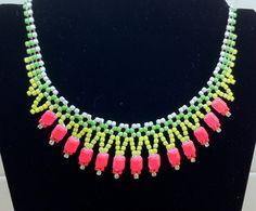 Hand Painted Neon Rhinestone Necklace