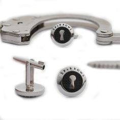 Cufflinks With Hidden Handcuff Key For Dapper White-Collar Criminals--Sparrow Cufflink Handcuff keys... for the man who has everything...