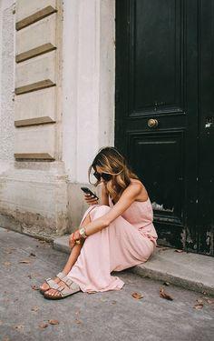 Blush maxi dress. Birkenstock Arizona 20a17bd7cb74