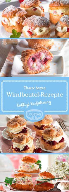 Lassen Sie sich von der großen Auswahl an Windbeutel-Rezepten, die von der Dr. Oetker Versuchsküche entwickelt wurden, inspirieren.