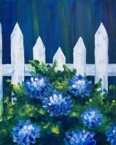 White Picket Hydrangeas at Travinia Italian Kitchen - Paint Nite Events near Lexington, SC>