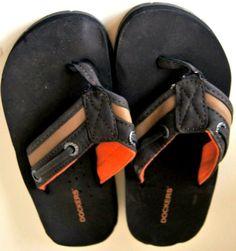 66d92dd122bf Dockers Boy s Brown Tan Orange Sandals Flip Flops Shoes Size 11-12  Childrens  Dockers