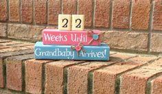 Countdown. Pregnancy Countdown. Aqua and Pink. Grandparent Countdown. Grandparent. Grandparents. Baby Blocks. Maternity Blocks.