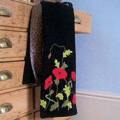 Poppies Applique Scarf |  http://bustleandsew.com/store/bags-and-scarves/poppies-applique-scarf/