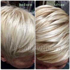 Dimensional blonde contrast razor haircut and style Cool Hair Color, Hair Colors, Razor Haircut, Dimensional Hair Color, Brow Tinting, Awesome Hair, Perm, Brows, Hair Ideas