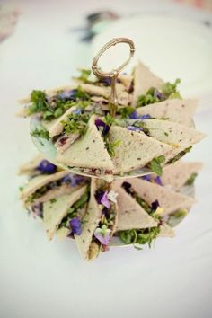 Tea sandwiches with edible pansies by Angela.Newson