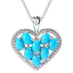 """Gem Insider® Sterling Silver Sleeping Beauty Turquoise Pendant w/ 18"""" Rolo Chain"""