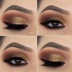 15 Alluring Golden Smokey Eye Makeup Ideas - - - 15 Alluring Golden Smokey Eye Makeup Ideas - Beauty Makeup Hacks Ideas Wedding Makeup Looks for Women Ma. Eye Makeup Designs, Eye Makeup Tips, Makeup Inspo, Beauty Makeup, Hair Makeup, Makeup Ideas, Makeup Products, Makeup Kit, Makeup Tricks