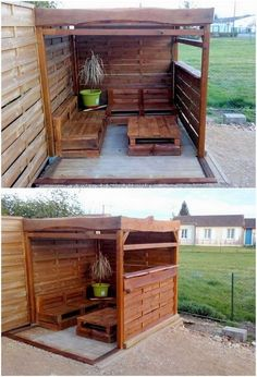 This so gorgeous garden shed designing in house outdoor areas is getting out being high in demands. And when this garden shed is created with wood pallet material in it, then it simply look so extraordinary. Here we have the perfect example for you! The whole designing is attractively embellished with the rustic dark brown wood pallet use.