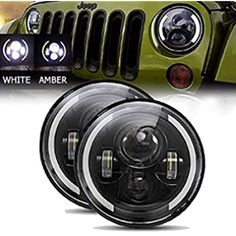 Cloudsale 7 inch led rgb round drl flashing angel eye halo ring headlamp bluetooth controlled for jeep wrangler: Amazon.in: Car & Motorbike Royal Enfield Accessories, High Beam, Angel Eyes, Led Headlights, Jeep Wrangler, Motorbikes, Halo, Bluetooth, Amazon
