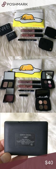 "Awesome Makeup Bundle! NARS, Lancôme, NYX, Sumita 1.) Ipsy July 2017 Gudetama glam bag, brand new, never used. 2.) NARS eyeshadow duo in ""earth angel"" barely used. 3.) NARS single eyeshadow in ""New York"" barely used. 4.) Lancôme eyeshadow quad samples, 2 compacts in 4 colors: chic, positive, faux pas, designer, daylight, volcano, makeover, the new black. Barely used. 5.) 2 NYX Lingerie lipsticks: in ""embellishment"" and ""bedtime flirt"" swatched once or twice, like new. 6.) Sumita beauty…"