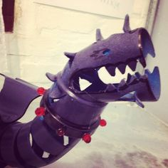 Violet Dragon made of PVC pipes