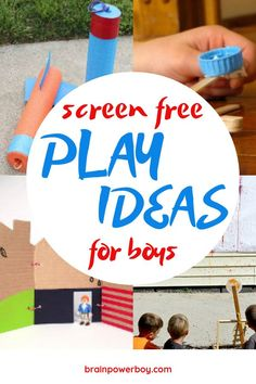 Activities for Boys: Awesome Ideas for Unplugged Play Get your boys off screen with this amazing list of screen free activities and play ideas for boys. Over sixty activities to choose from. Craft Activities For Kids, Summer Activities, Projects For Kids, Diy For Kids, Crafts For Kids, 4 Kids, Preschool Crafts, Family Activities, Things To Do Camping