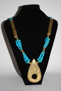 Vintage Long Womans Necklace Fashion Designer Blue Brass Arts & Crafts Handmade