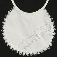 Cotton bib with lace embellishments and white ribbon bow - perfect for a Special Occasion or for baby's Sunday best!