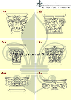 Capital models-- drawings made by Architectural Ornaments Human Mind, Art And Technology, Historical Architecture, Vectors, Models, Ornaments, Drawings, Pattern, Design