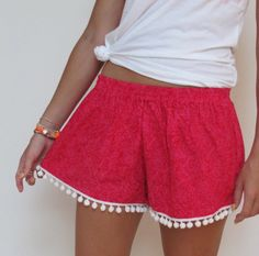 Pom Pom Shorts  Raspberry Red Pattern with Hot Pink by ljcdesignss, $29.00