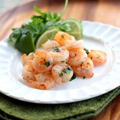 Cilantro Lime Shrimp | The Girl Who Ate Everything--Ingredients:  2 teaspoons olive oil   2 pounds fresh shrimp, shelled and deveined   6 cloves garlic, minced  1/4 teaspoon red pepper flakes  1/3 cup chopped fresh cilantro  1 lime   salt and pepper