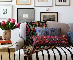 Vintage Style Ideas | One Kings Lane: For temporary updates, use vintage textiles to drape over sofas or chairs; wrap sofa cushions in fabric.  Also, I like the gallery wall.
