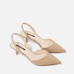 New Arrival Shoes Woman Summer Fashion Sandals Shallow 5 CM Low Heels Pointed Toe Women Slides Casual BIg Size Women's Shoes Mid Heel Shoes, Slingback Shoes, Shoes Heels, Medium Heel Shoes, Zara Shoes, Fancy Shoes, Cute Shoes, Me Too Shoes, Ankle Strap Heels