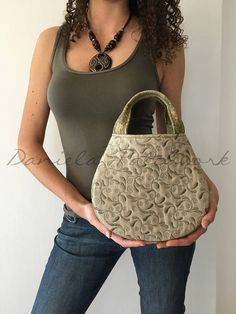 Green fabric handbags  Quilted bag  Patchwork bag