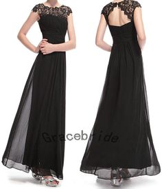 latest fashion black satin bridesmaid dresses with black lace prom gowns round neck homecoming dresses long elegant celebrity dress on sale on Etsy, $128.00