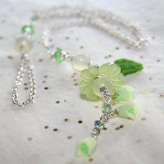 Genuine Jade Silver Lariat Necklace w Green Ecuadorian Rose Buds by Maru DeJesus Designs| whosmaru - Jewelry on ArtFire
