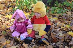 Sibling Halloween Costume Idea - piglet and pooh :)