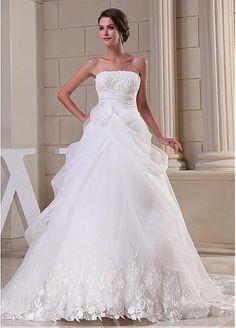 Sleeveless Satin & Lace & Organza Corset-back Wedding Dress #FebSale