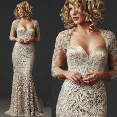 China Lace Mermaid Mother of the Bride Dresses Long Sleeve 2015 Beads  Ladies Formal Dress Floor Length Champagne Stunning Evening Gown M1792 841f23403656