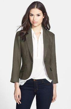 $79 Olivia Moon Three Quarter Sleeve Linen Blazer Jacket Size L Tuscan Olive #OliviaMoon #Blazer