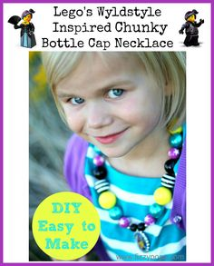 chunky bead necklace with bottle cap pendant featuring Wyldstyle. Visit www.fizzypops.com for tutorial and supplies.