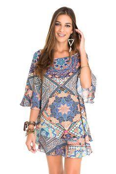 vestido amplo estampa festival bordada   Dress to