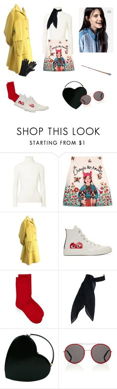 """""""Hufflepuff Inspired"""" by velith ❤ liked on Polyvore featuring JoosTricot, Gucci, Valentino, Play Comme des Garçons, Moschino, Amica and Lanvin"""