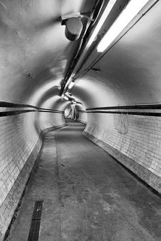 Passageways at Aldwych disused tube station.